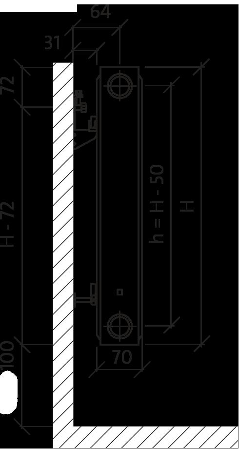Стальной панельный радиатор Purmo Compact тип C21S 500х1000