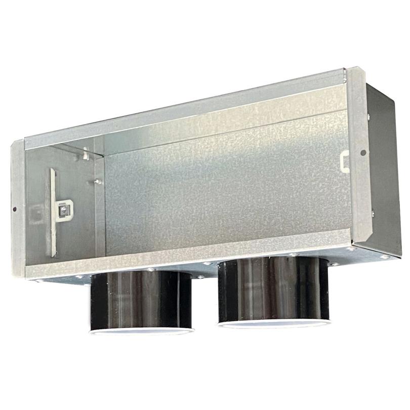 Plenum con attacchi laterali con serranda - 2xDN75 mm