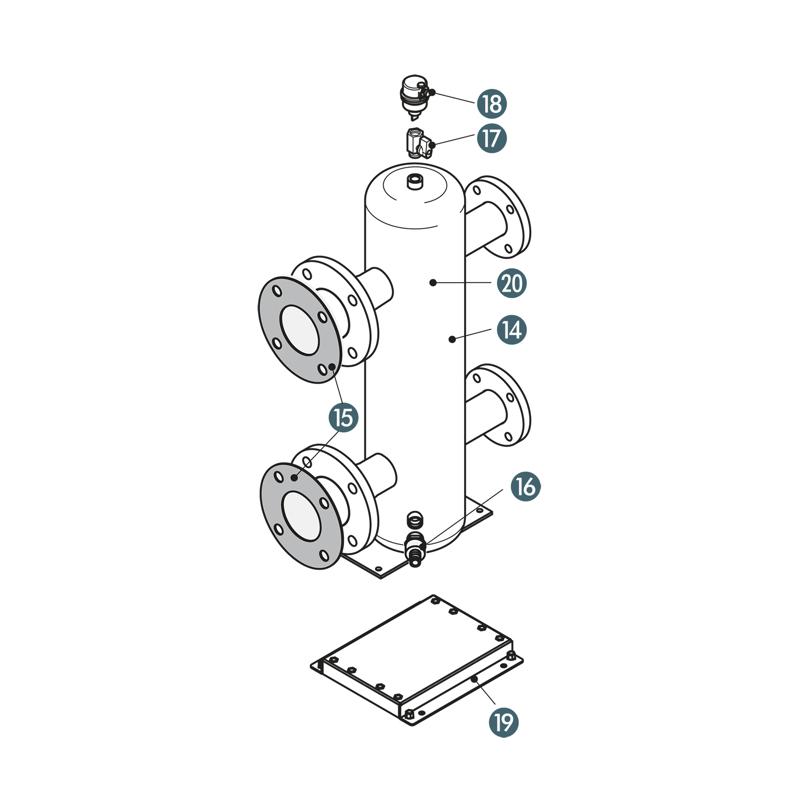 Kit disgiuntore idraulico DN80 con supporto
