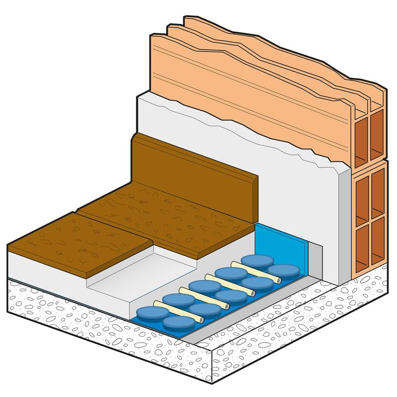 Sistema con pannello bugnato basso spessore Thin Floor