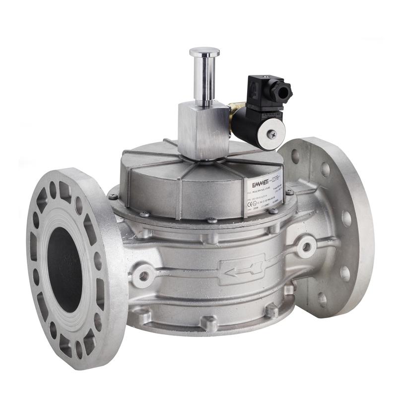 Elettrovalvola gas riarmo manuale NA in alluminio flang