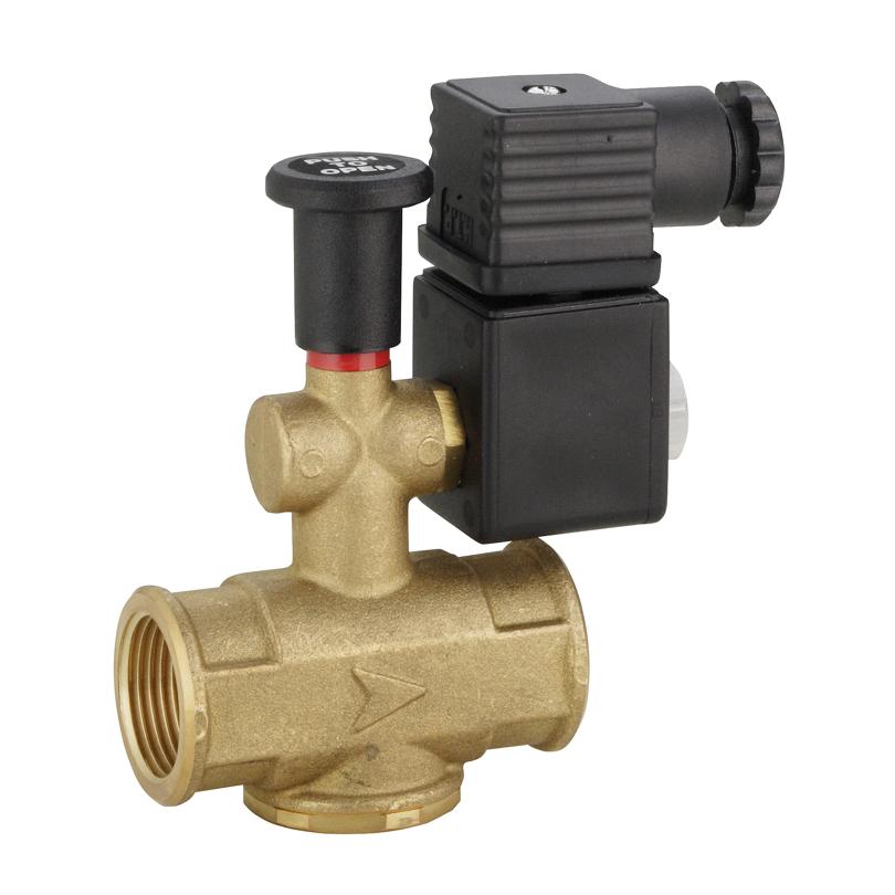 Elettrovalvola gas riarmo manuale NA in ottone