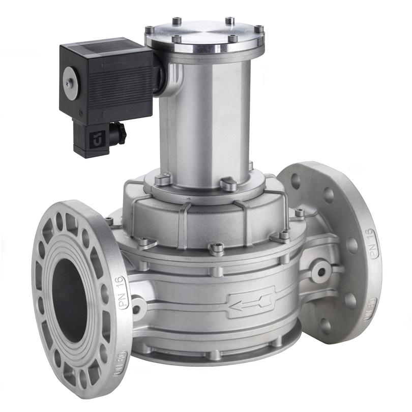 Elettrovalvola gas riarmo manuale NC in alluminio flang