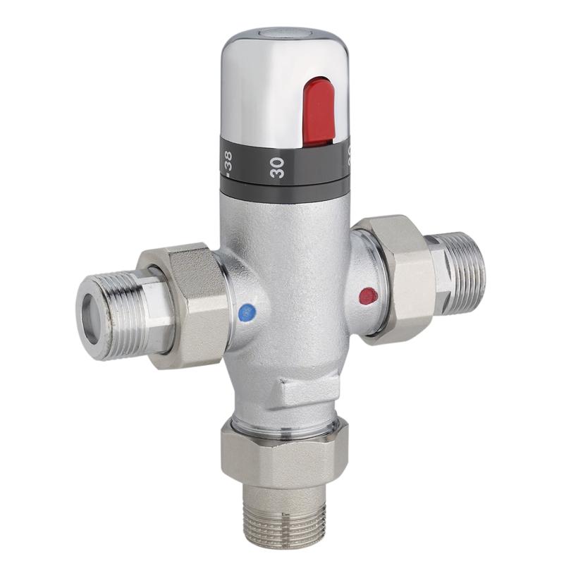 Miscelatore termostatico con pulsante antiscottatura