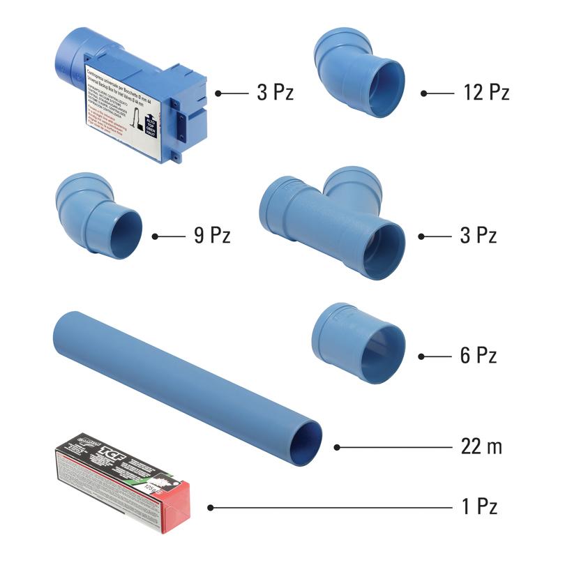 Kit predisposizione per tubazione Ø 50 mm 3 punti presa