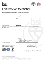 Certificate of registration: Environmental management system ISO 14001