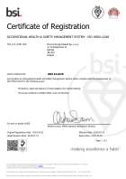 Certificate of registration: Occupational health & safety management system ISO 45001